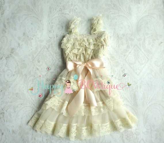 Hochzeit - Flower Girl Dress, Champagne Bow Chiffon lace dress, Rustic dress,Country wedding,Baby Girls Dress,Ivory dress, 1st Birthday dress,Toddler