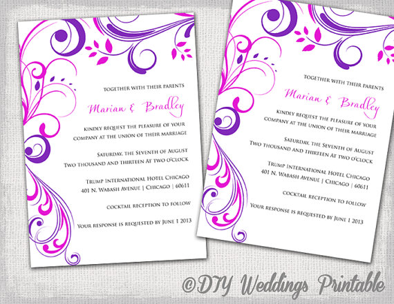 Wedding Invitation Templates Purple And Pink Scroll Invitations