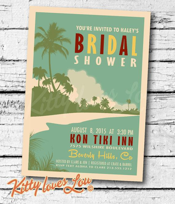 Mariage - PRINTABLE Bridal Shower INVITATION Digital PDF Retro Hawaiian Luau Wedding Engagement Birthday Luau Party Bachelorette invite vintage