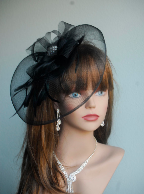 Wedding Head Piece Kentucky Derby Hat Black Bridal Headband Coctail Hat  Couture Fascinator Bridal Hat 69ba1dec314
