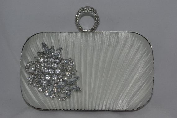 Hochzeit - Bridal Clutch in Diamond White, Crystal Brooch Satin Box Clutch - Wedding Handbag - Bridal Clutch Bag - Silver Brooch Clutch, Bridal Purses