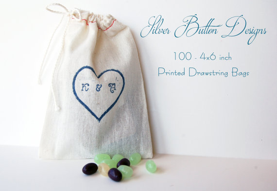 Hochzeit - Wedding Favor Bags, set of 100, Customized Handstamped Linen Bags, jewelry bags, gift bags, wedding favor bags, drawstring cloth bags