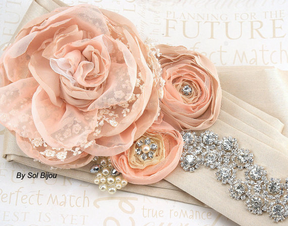 Hochzeit - Bridal Sash, Wedding Sash in Peach, Nude, Tan, Beige, Champagne and Ivory with Lace, Chiffon and Crystals