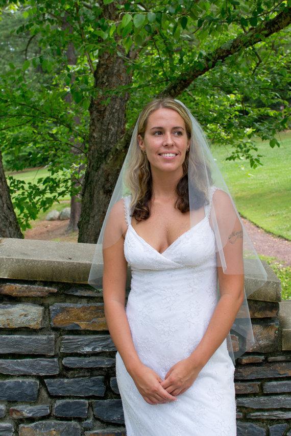 Hochzeit - Wedding veil -  cascading cut 36 inch fingertip length bridal veil wit a cut edge