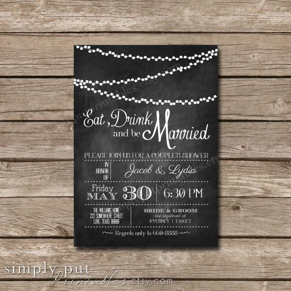 Eat Drink And Be Married Chalkboard Shower Invitation