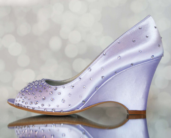 b86bb3e48 Purple Wedding Shoes -- Lilac Peep Toe Wedge Wedding Shoes with Swarovski  Crystal Starburst Design