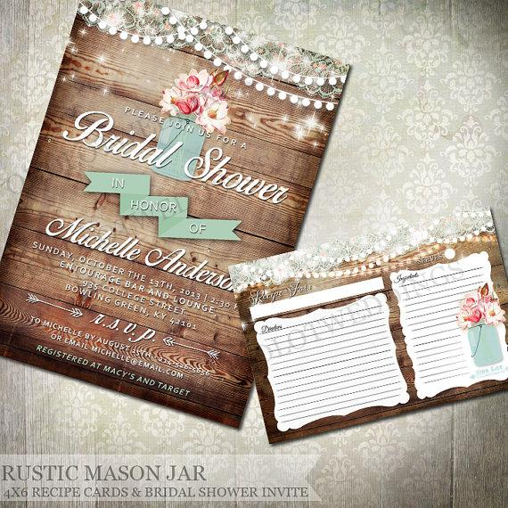 Hochzeit - Mason Jar Rustic Bridal Shower Invitation - Rustic Wood with mason jar filled with flowers - Country Wedding Invitations -Dropdown choices