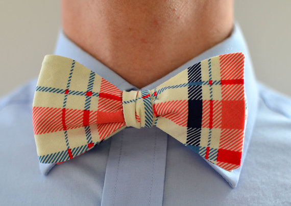 Hochzeit - Men's Bow Tie in Coral and Blue Plaid -  navy blue wedding groomsmen ties self tie freestyle adjustable stripes ties ivory cream