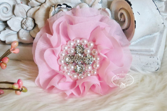 Hochzeit - New: Reilly Collection, 2 pcs BABY PINK Soft Chiffon Ruffled Fabric Flowers w/ Rhinestones Pearls - Layered Bouquet fabric flowers