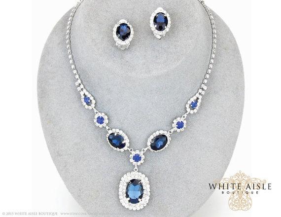 Sapphire Blue Drop Necklace Wedding Jewelry Set Rhinestone Bridal
