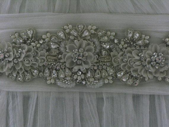Hochzeit - Jewelled bridal belt or crystal sash - Petite Jardin