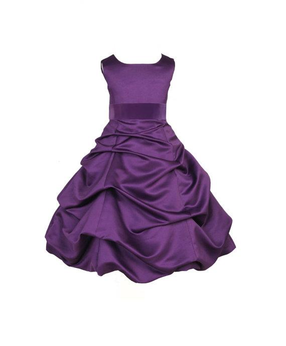 Hochzeit - Purple Flower Girl Dress tie sash pageant wedding bridal recital children bridesmaid toddler childs 37 sash sizes 2 4 6 8 10 12 14 16