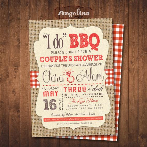 Mariage - I do BBQ. COUPLE'S SHOWER, double sided Invitation. Digital Printable Card