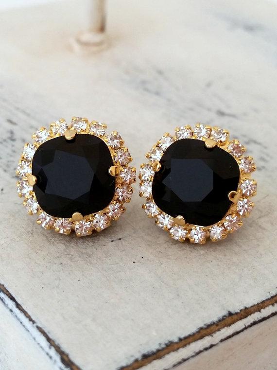 Mariage - Black Swarovski stud earrings, Bridal earrings, black rhinestone stud earrings, Bridesmaid jewelry, estate studs, Crystal stud earrings,