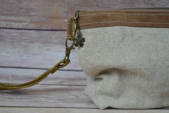 زفاف - Linen clutch with Waxed Canvas Rustic pouch Simple, bridesmaid clutch, rustic wedding,  by Darby Mack, made in the USA  in stock