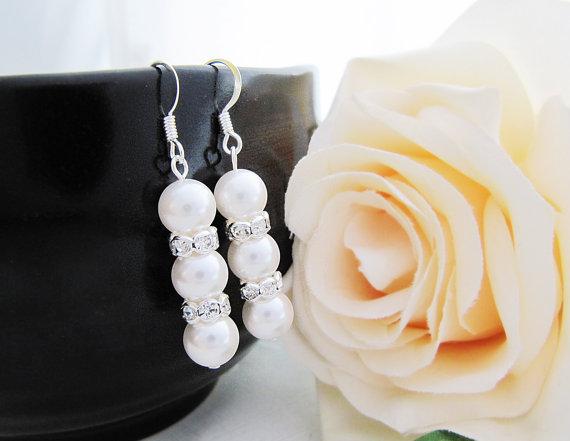 Wedding - 10% OFF SET of 4 Wedding Jewelry Bridesmaid Jewelry Crystal white Swarovski Pearls with rhinestone rondelles Bridal Bridesmaid Earrings