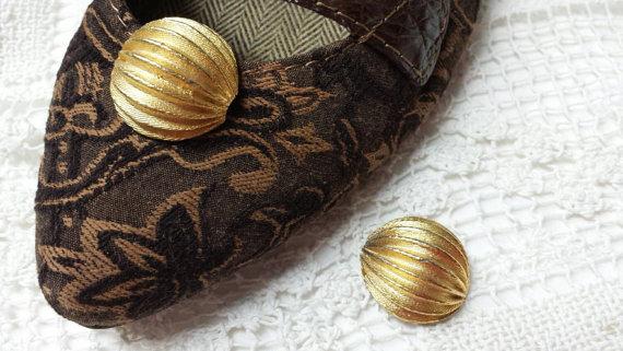زفاف - Shoe Clips Gold Domes