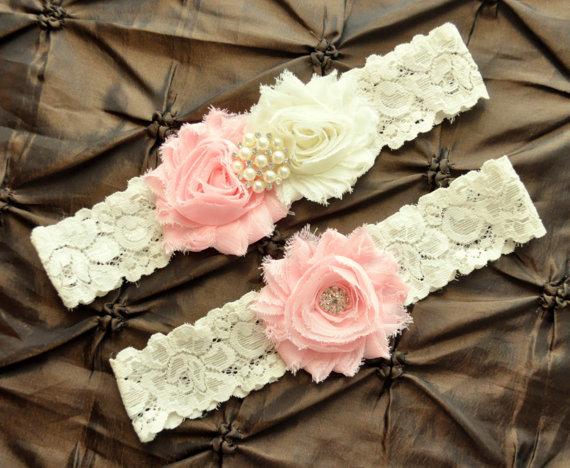 زفاف - Wedding Garter Belt, Bridal Garter Set - Ivory Lace Garter, Keepsake Garter, Toss Garter, Shabby Chiffon Ivory Light Pink Wedding Garter