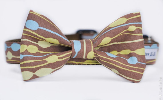 Свадьба - Limited Edition Blue & Green Print Bow Tie or Belle Bow Dog Collar
