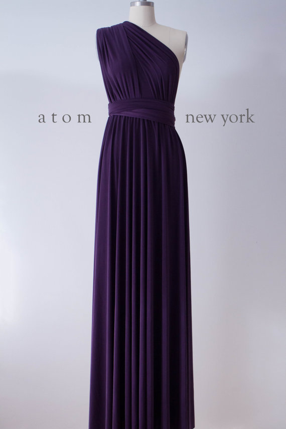 a59d750eb48 Dark Purple Grape Floor Length Ball Gown Long Maxi Infinity Dress  Convertible Formal Multiway Wrap Dress Bridesmaid Dress Evening Dress