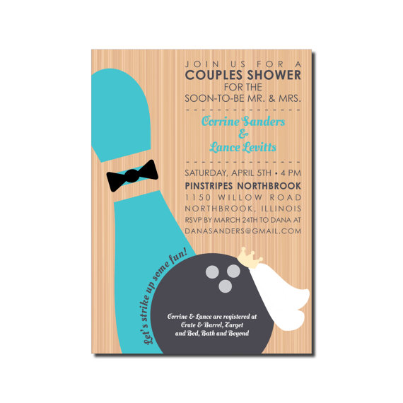 Wedding Bowling Invitation - Couples Shower Or Rehearsal ...