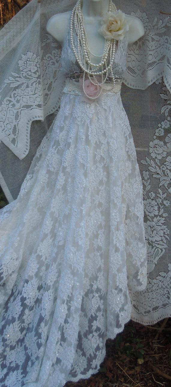 Boho Wedding Dress Beaded White Lace Vintage Silver Bride Outdoor Romantic Small By Vintage