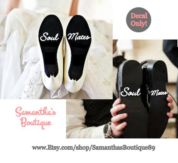 زفاف - Soul Mates Calligraphy Wedding Shoe Decal Set