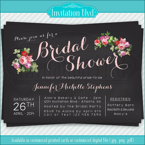 Wedding - Bridal Shower Invitation, Wedding Shower Invitations - Chalkboard Florals Bridal Shower Invitation - Printable Bridal Shower Invitation