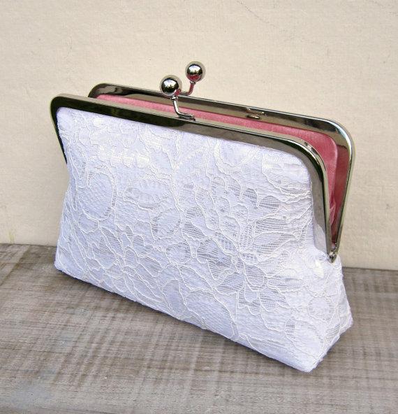 White Lace Clutch White Bridal Clutch White Wedding Purse Rustic Clutch Bridesmaid Clutch ...
