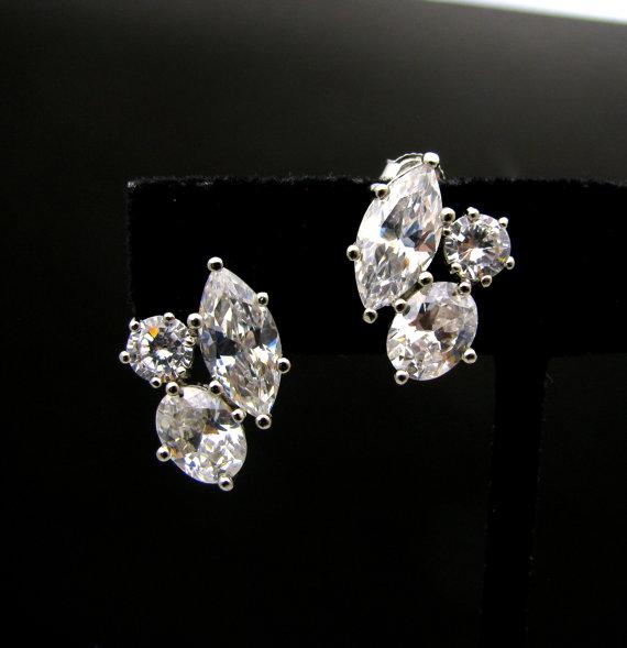 زفاف - Set of 6 Wedding bridal bridesmaid Jewelry prom pageant party statement  three shape cubic zirconia stud post silver earrings