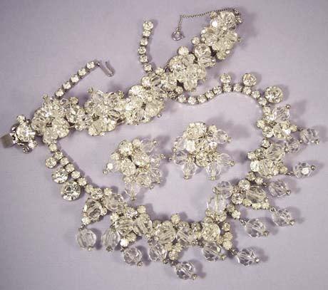 Mariage - JULIANA Necklace Bracelet Earrings Set Vintage Crystal Full Parure Bridal Jewelry
