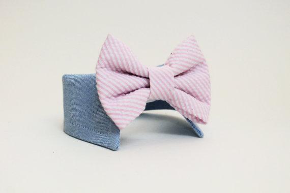 زفاف - Seersucker Dog Bow Tie Collar- Shirt and Bow Tie Collar- Wedding Dog Bow Tie- CUSTOM