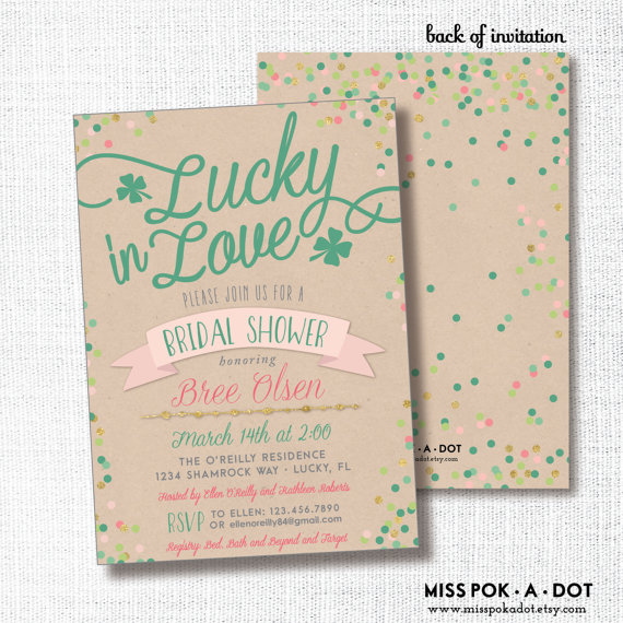22c8d2b79e84 Lucky in Love St Patrick s Day Irish bridal shower invitation - green