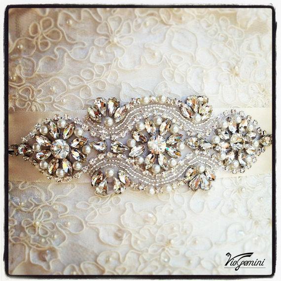 Свадьба - Bridal sash, rhinestones and pearl sash, wedding sash, jeweled sash belt, ART DECO  crystal sash