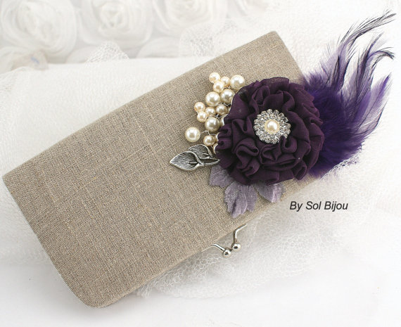 Свадьба - Linen Bridal Clutch Shabby Chic Rustic Wedding Clutch in Ivory, Silver and Purple Plum with Linen, Lace, Feathers & Pearls- Vintage Inspired