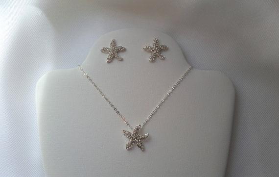 Свадьба - Simple Starfish Necklace Earring Set Rhinestone Starfish Jewelry Bridesmaid Jewelry Bridal Shower Gift Flower Girl Necklace