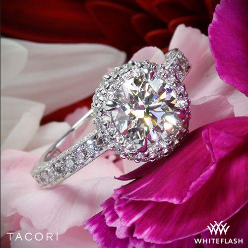 Hochzeit - 18k White Gold Tacori HT2522CU Blooming Beauties Botanical Cushion Bloom Diamond Engagement Ring