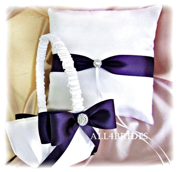 Lapis Deep Purple Weddings Basket Pillow Wedding Ring Pillow