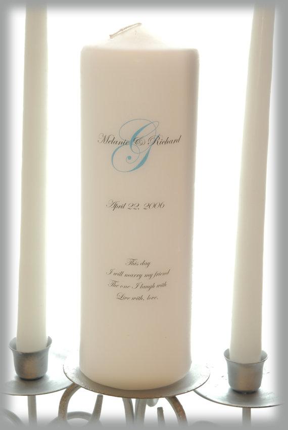 Hochzeit - Personalized Unity Candle Set with Monogram, wedding candles, weddings, wedding decorations
