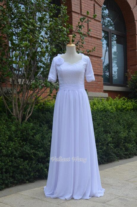 Hochzeit - White Lace Wedding Dress Chiffon Wedding Gown Short Sleeves With Flower