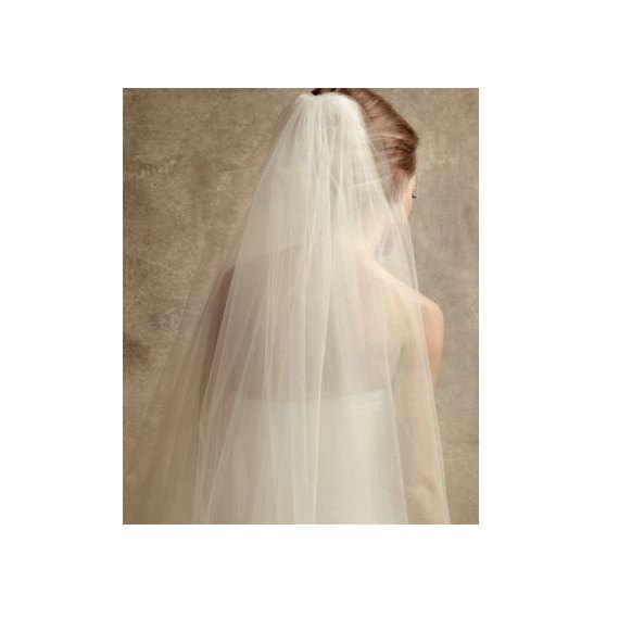 Mariage - Plain Two-Tier Finger Tip Length Veil With Raw Edge