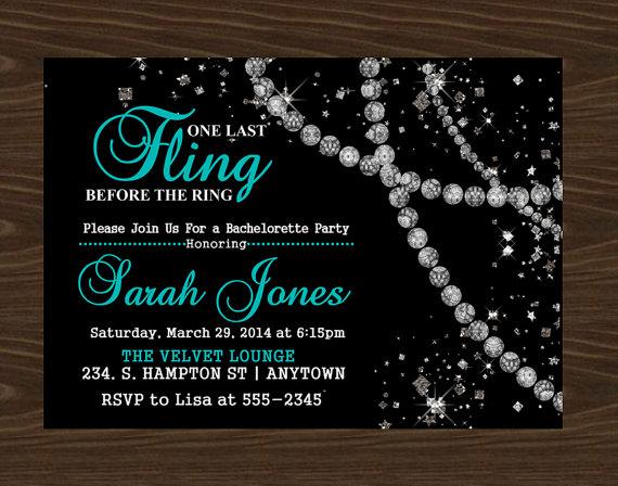Свадьба - Bachelorette Party Invitation, Diamonds Invitation- Digital File