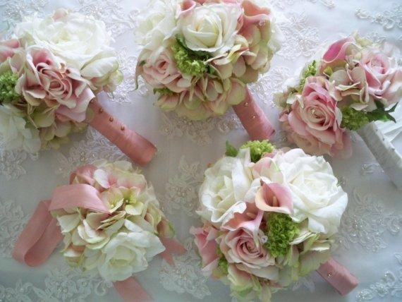 Свадьба - Realtouch Calla Lillies Blush Pink  Green  and Green Hydrangeas and Realtouch Rose Bridal and Bridesmaids Bouquet Set