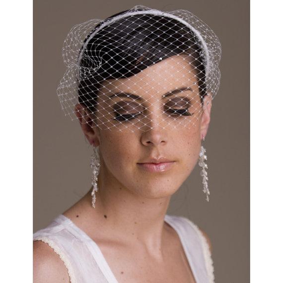 Свадьба - Bridal Birdcage Veil, blusher, wedding blusher, bridal veil, Rhinestones