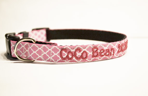 Свадьба - Personalized - Pink Moroccan Dog Collar - Made to order