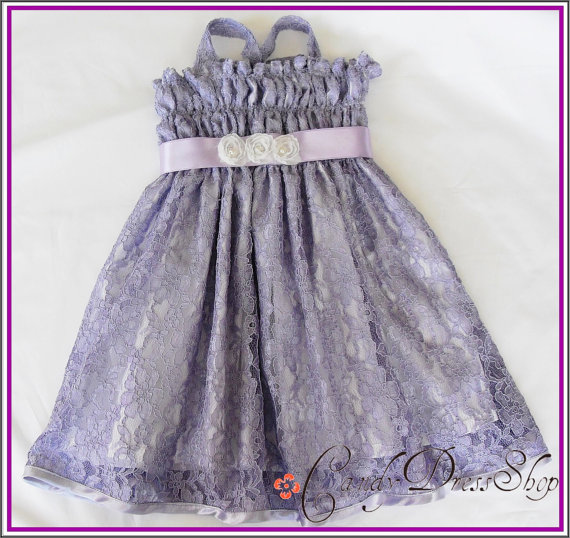 Свадьба - Purple (Lilac) Flower Girl Dress - Lace Dress - Party dress for little girls- Spring and Summer dress  - Easter dress - 12m to 3Y