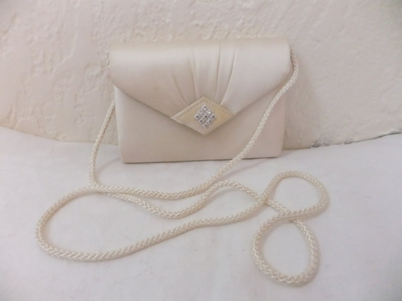 Mariage - Vintage Evening Bag Purse Clutch Wedding Ivory Satin with Rhinestones Retro Formal Prom