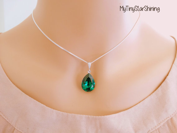 Свадьба - Emerald Necklace Green Emerald NecklaceTeardrop Necklace Sterling Silver Necklace Wedding Jewelry