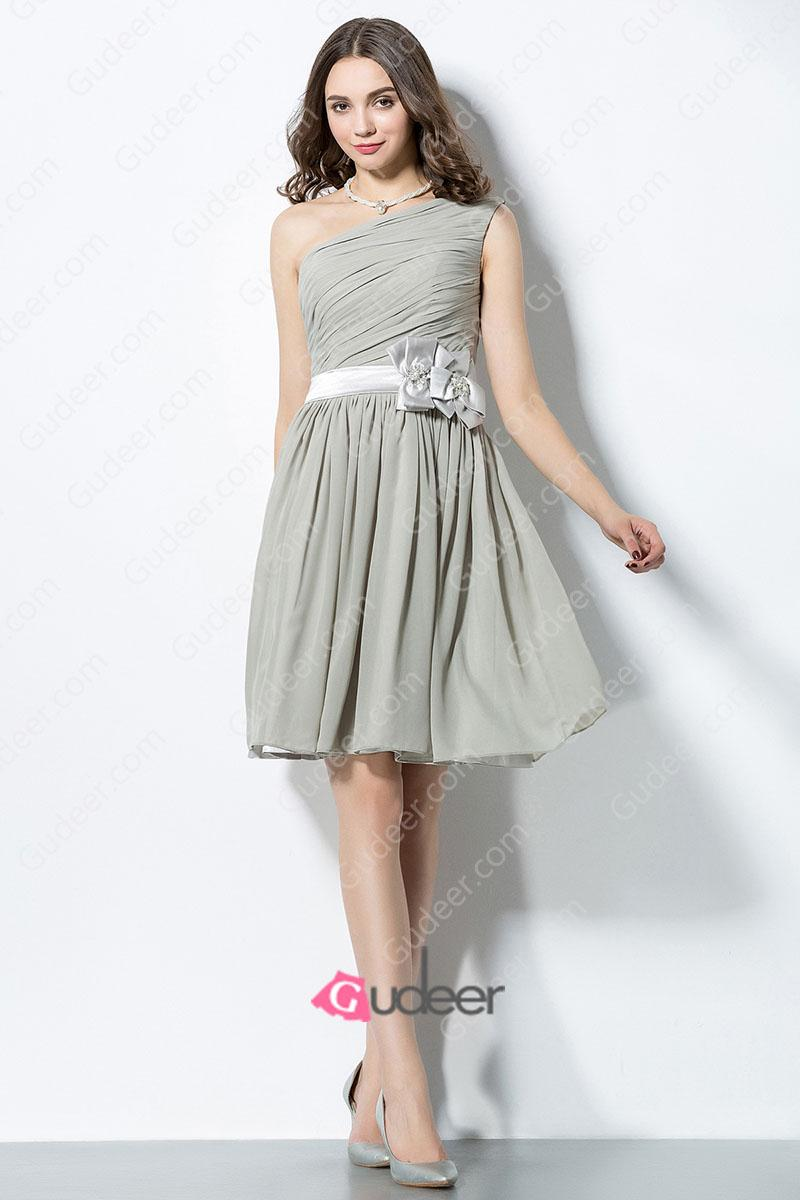 Mariage - Elegant Asymmetrical One Shoulder Grey Chiffon Bridesmaid Dress with Flower Ribbon