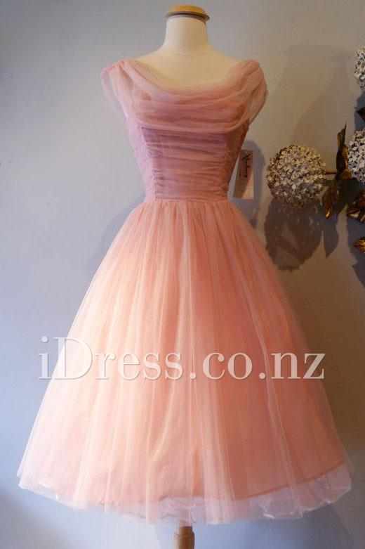 Wedding - Tea Length Ombre Peach Sleeveless Scoop Neck Tulle Short Prom Dress